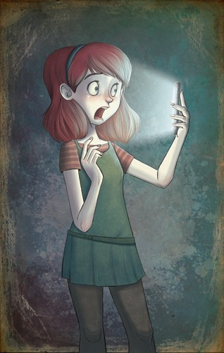 Xavier Bonet Illustration - xavier bonet, xavier, bonet, commercial, fiction, mass market, young reader, picture book, novelty, painted, traditional, digital, photoshop, illustrator, girl, person, figure, figurative, mobile, mobile phone, phone, scared, background, spooky, mystery,