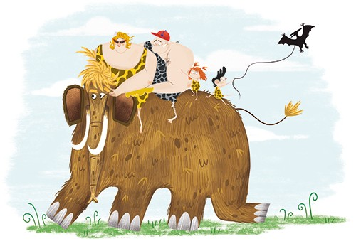 Xiana Teimoy Illustration - Xiana, Teimoy, digital, texture, photoshop, picture book, young reader, colour, colourful, fiction, characters, prehistoric, cavemen, family, children, kids, mammoth, wooly, riding, mum, dad, nature, dinosaur, pterodactyl, kite, flying, funny, adventure,