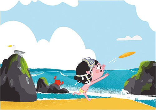 Xiana Teimoy Illustration - Xiana, Teimoy, digital, texture, photoshop, illustration, picture book, young readers, colour, colourful, fiction, character, girl, person, child, kid, water, beach, seaside, sea, crab, waves, frisbee, flying, clouds, rocks, seagull, sky, summer, seasons,