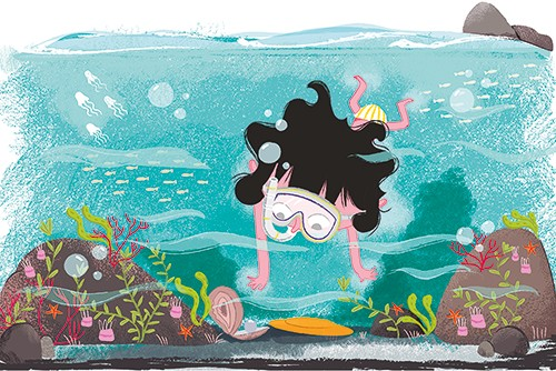 Xiana Teimoy Illustration - Xiana, Teimoy, digital, texture, photoshop, illustration, picture book, young readers, colour, colourful, fiction, character, girl, person, child, kid, water, beach, sea, swim, swimming, goggles, snorkel, bubbles, fish, jellyfish, underwater, frisbee, fin