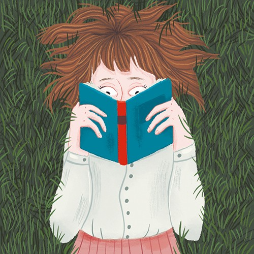 Xiana Teimoy Illustration - Xiana, Teimoy, digital, texture, photoshop, illustration, picture book, young readers, colour, colourful, fiction, character, girl, woman, person, grass, lying down, book, reading, pages, eyes, read, lay, nature, comfort, relax, chill,