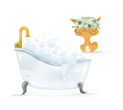 Xiana Teimoy Illustration - Xiana, Teimoy, digital, texture, photoshop, illustration, picture book, young readers, colour, colourful, fiction, character, cat, animal, pet, bath, bathtub, bubbles, shower cap, tap, water, scared, cute, sweet, funny,