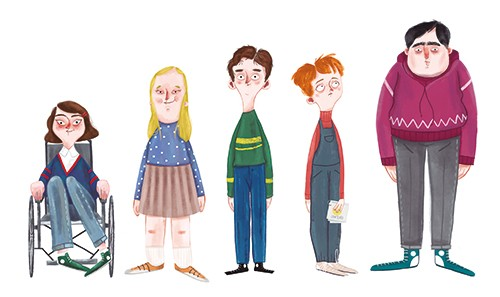Xiana Teimoy Illustration - Xiana, Teimoy, digital, texture, photoshop, illustration, picture book, young readers, colour, colourful, fiction, characters, kids, teenagers, boys, girls, wheelchair, jumpers, tall, short, friends, group, people,