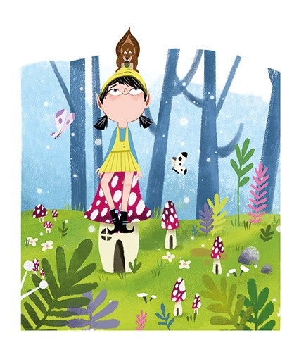 Xiana Teimoy Illustration - Xiana, Teimoy, digital, texture, photoshop, illustration, picture book, young readers, colour, colourful, fiction, character, woods, forest, magical, mushrooms, houses, homes small, elf, girl, person, squirrel, animals, wild, friends, butterflies, trees,