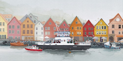 Zuzanna Celej Illustration - zuzanna celej, illustrator, traditional, texture, painted, watercolour, layers, paper, textiles, colour, colourful, picture book, trade, town, houses, buildings, river, water, boats, vehicles, travel, transport, road, people, ferry, ship, mist, trees, nat