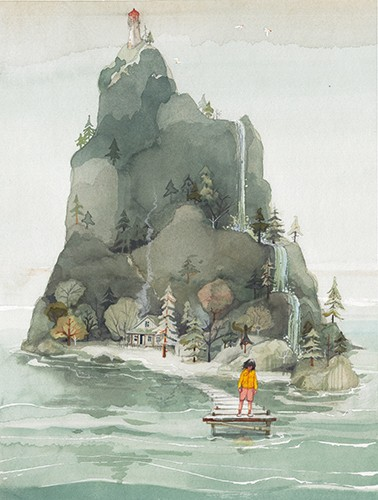 Zuzanna Celej Illustration - zuzanna celej, illustrator, traditional, texture, painted, watercolour, layers, paper, textiles, colour, colourful, picture book, trade, mountain, hill, nature, dock, character, person, child, water, ocean, trees, waterfall, beautiful, house, island,
