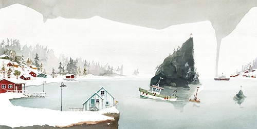 Zuzanna Celej Illustration - zuzanna celej, illustrator, traditional, texture, painted, watercolour, layers, paper, textiles, colour, colourful, picture book, trade, winter, seasonal, festive, snow, weather, houses, water, river, lake, cliff, hill, boats, travel, town, homes,