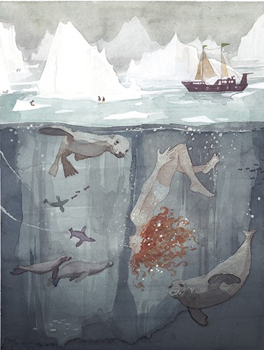 Zuzanna Celej Illustration - zuzanna celej, illustrator, traditional, texture, painted, watercolour, layers, paper, textiles, colour, colourful, picture book, trade, water, ocean, underwater, swimming, character, upside down, fish, seals, friends, nature, icebergs, cold, winter, snow