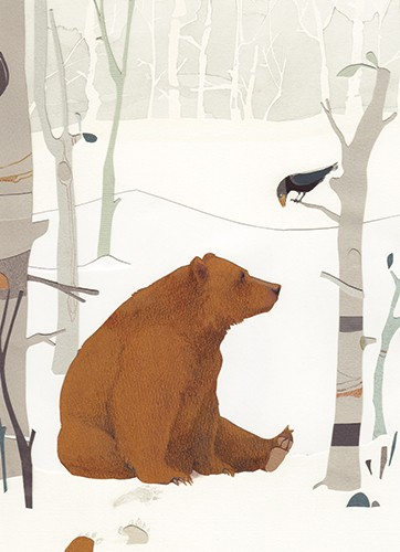 Zuzanna Celej Illustration - zuzanna celej, illustrator, traditional, texture, painted, watercolour, layers, paper, textiles, colour, colourful, picture book, trade, bear, animal, wild, nature, winter, trees, birds, landscape, seasonal, festive, christmas, forest, woods,