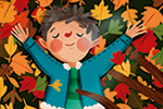Laia Berloso Clara Illustration - Laia Berloso Clarà, illustrator, digital, watercolour, pastels, traditional, colour, colourful, fiction, picture book, leaves, autumn, seasonal, characters, playing, boy, girl, fun, laying down, branch, tree, nature, bird, cute, seasons,
