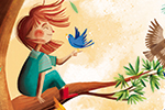 Laia Berloso Clara Illustration - Laia Berloso Clarà, illustrator, digital, watercolour, pastels, traditional, colour, colourful, fiction, picture book, beautiful, birds, flock, nature, flying, wings, owl, bright, branch, tree, girl, character, friends, cute, leaves, sky, sun, clouds, adv