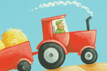 Lucy Boden Illustration - lucy, boden, lucy boden, novelty, mass market, commercial, acrylic, painted, picture book, fiction, man, men, person, people, boys, tractors, trailers, hay bales, vehicles, farmers, farm,