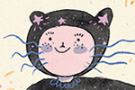 Lana Neble Illustration - lana neble, drawing, pencil, handdrawn, digital, texture, colour, colourful, character, girl, person, cat, costume, fancy dress, ears, stars, fireworks, happy, cute, sweet,
