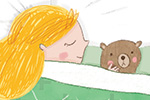 Louise Wright Illustration - louise, wright, louise wright, texture, mixed media, traditional, ,teddy, digital, photoshop, illustrator, trade, mass market, picture book, goldilocks, bed, cosy, sleep, night,