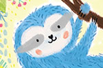 Marina Aizen Illustration - marina aizen, marina, aizen, young, picture books, fiction, trade, crayon, pattern, cute, sweet, digital, animal, colourful, wild, sloth, trees, nature, plants, leaves, hanging, fluffy, cute, sweet, jungle,