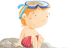 Marta Costa Illustration - marta, costa, marta costa, digital, commercial, educational, picture book, young reader, YA, colourful, colour, cute, summer, holiday, summer holiday, sweet, sea, water, seal, animal, sea shore boy, swimming, crab, birds, red trunks, goggles, snorkel, rocks