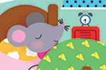 Melisande Luthringer Illustration - melisande luthringer, melisande, luthringer, illustration digital, commercial, novelty, educational, animals, mouse, bedroom, bed, sleep, books, blanket, clock, night, cute