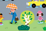 Melisande Luthringer Illustration - melisande luthringer, melisande, luthringer, illustration digital, commercial, novelty, educational, town, city, street, buildings, cars, people, weather, rain, rainbow, sun, clouds, bus, grass, bushes,