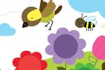 Melisande Luthringer Illustration - melisande luthringer, digital, commercial, novelty, educational, young, sweet, flowers, bees, bumblebees, birds, rainbows