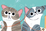 Marisa Morea Illustration - marisa morea, trade, mass market, picture books, fiction, painted, digital, photoshop, illustrator, colour, colourful, cats, christmas, fun, silly, yarn, wool, tangle, boxes, wrapping, wrapping paper, paper, cute, sweet, stuck, stars, presents,
