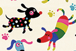 Nastja Holtfreter Illustration - nastja, holtfreter, nastja holtfreter, commercial, educational, fiction, mass market, value, greetings cards YA, young reader, picture book, digital, photoshop, dogs, repeat pattern, bones, paws, colourful, patters, animals, pets