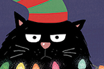 Nastja Holtfreter Illustration - nastja, holtfreter, nastja holtfreter, commercial, educational, fiction, mass market, value, greetings cards YA, young reader, picture book, digital, photoshop, cat, kitten, kitty, grumpy, cute, lights, hat