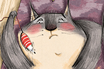 Olivia Beckman Illustration - olivia, beckman, olivia beckman, marta, fernandez, marta fernandez, trade, fiction, picture book, cute, sweet, painted, digital, photoshop, traditional, textured, cat, pet, bored, mice, toys, box, rug, playing, colourful,