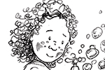 Olivia Palmer Illustration - olivia palmer, olivia, palmer, b&w, black and white, fiction, digital, pen & ink, grey scale, chapter books, ya, young adult, friends, playing, messing about, bubbles, washing up liquid, boys, girls, kitchens, dishes, pyjamas, cleaning
