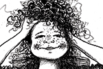 Olivia Palmer Illustration - olivia palmer, olivia, palmer, b&w, black and white, fiction, digital, pen & ink, grey scale, chapter books, ya, young adult, girls, hair, curly, combs, jugs, bowls, basins, teenagers, tables, hairdressing, smiling, happy, cheeky,