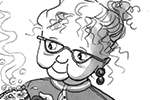 Olivia Palmer Illustration - olivia palmer, olivia, palmer, b&w, black and white, fiction, digital, pen & ink, grey scale, chapter books, ya, young adult, grandma, grandparent, old lady, granny, glasses, mugs, steaming, boys, sad, frowning, comforting, tea, bubbles, steam