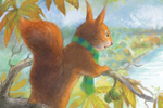 Petra Brown Illustration - petra, brown, petra brown, watercolour, paint, painted, commercial, traditional, trade, picture book, picture book, cute, sweet, young, squirrel, tree, park, nature, trees, leaves, autumn, jacket,