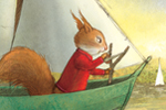 Petra Brown Illustration - petra, brown, petra brown, watercolour, paint, painted, commercial, traditional, trade, picture book, picture book, cute, sweet, young, squirrel, sea, captain, voyage, ocean, boats, birds, waves, sails