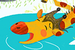 Purificacion Hernandez Illustration - Purificacion, hernandez, purificacion hernandez, commercial, trade, fiction, cute, sweet, young, picture books, digital, photoshop, illustrator, painted, YA, young reader, jungle, animals, giraffe, water, lake, pond, monkeys, frog, snail, rocks, lilypad,