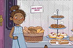 Paula Franco Illustration - paula franco, paula, franco, mass, commercial, digital, educational, novelty, fiction, young reader, photoshop, illustrator, cute, sweet, YA, shop, bakery, street, people, figures, woman, shopping, girl, boy, pigeons, birds, dog, pets, cakes,