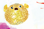 Puy Pinillos Illustration - puy, pillinos, puy pillinos, digital, mixed media, trade, commercial, picture book, novelty, animals, bright, colourful, YA,young reader, puffa fish, tropical, water, underwater, sea, ocean, plants