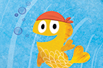 Puy Pinillos Illustration - puy, pillinos, puy pillinos, digital, mixed media, trade, commercial, picture book, novelty, animals, birds, bright, colourful, young, wales, big, blue, oceans, swimming, seas, sea life, goldfishes, bubbles, hats, bandana, little, friends,