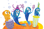 Puy Pinillos Illustration - puy, pillinos, puy pillinos, digital, mixed media, trade, commercial, picture book, novelty, animals, birds, bright, colourful, young, fishes, football, playing, underwater, sea life, sea, oceans, corals, reefs, plants, blues, goldfishes, whales, rocks, c