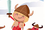 Sandra Aguilar Illustration - sandra aguilar, sandra, aguilar, digital, educational, novelty, fiction, board, mass market, vector, illustrator, young reader, viking, helmets, snow, winter, yak, duck, pig, sword, armour, boys,