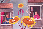 Stef Murphy Illustration - stef murphy, pencil, traditional, digital, colour, colourful, houses, home, buildings, sunflower, flower, giant, rainbow, tea, tea party, sharing, cute, sweet, friends, community, windows, flats, apartments, people, characters, NHS, cards, roof, cat, pet,