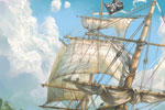 Sean Hayden Illustration - sean hayden, sean, hayden, paint, painted, digital, traditional, commercial, educational, fiction, picture books, pirates, boat, sea, ocean, waves, rough, sail, sailors,