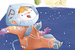 Simona Sanfilippo Illustration - simona, sanfilippo, simona sanfilippo, commercial, picture book, fiction, educational, digital, painted, photoshop, illustrator, character, boy, child. dog, pet, space, astronauts, nasa, planet, moon, stars, sky, happy, cute, sweet, gifts, smile, colourfu