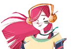 Simona Sanfilippo Illustration - simona, sanfilippo, simona sanfilippo, commercial, picture book, fiction, educational, digital, painted, photoshop, illustrator, character, colour, colourful, girl, person, headphones, music, dance, dancing, dancer, athlete, pink, hair,