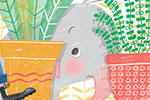 Sara Sanchez Illustration - sara sanchez, sara, sanchez, digital, texture, photoshop, illustrator, trade, commercial, mass market, picture book, ella, elephant, girl, pet, animals, home, sofa, move, house, boxes, plants, hiding