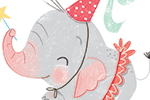 Sara Sanchez Illustration - sara sanchez, sara, sanchez, digital, texture, photoshop, illustrator, trade, commercial, mass market, picture book, ella, elephant, girl, pet, animals, play, costume, tea party, reading