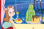 Sara Sanchez Illustration - sara sanchez, sara, sanchez, digital, texture, photoshop, illustrator, trade, commercial, mass market, picture book, fairytale, classics, beauty and the beast, dinner, table, candles, posh, dessert, food, clouds, window, sky, curtains, stars, night, happy