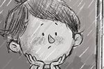 Tim Budgen Illustration - tim, budgen, tim budgen, illustration, picture book, YA, young reader, trade, character, colourful, illustrator, photoshop, black and white, b+w, child, person, rain, rainy, weather, window