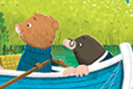 Tim Budgen Illustration - tim, budgen, tim budgen, illustration, picture book, YA, young reader, trade, character, colourful, illustrator, photoshop, water, badger, mole, bear, house, boat, cute, sweet, trees, meadows