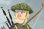 Tim Budgen Illustration - tim, budgen, tim budgen, illustration, picture book, YA, young reader, trade, character, colourful, illustrator, photoshop, history, historical, figures, soldier, man, boy, war, WW1, WW2, army, courageous, bow, arrows, sword, bagpipes, fighting,