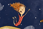 Tom Tinn-Disbury Illustration - Tom, Disbury, Tom Disbury, Digital, Photoshop, Illustrator, educational, fiction, picture book, editorial, young reader, YA, ya, character, picture book, trapeze, circus, swinging, audience, high, nervous