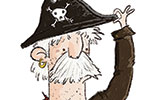 Tom Tinn-Disbury Illustration - Tom, Disbury, Tom Disbury, Digital, Photoshop, Illustrator, educational, fiction, picture book, editorial, young reader, YA, ya, character, pirates, captain, skull, crossbones, humour, funny, stripes, sea,
